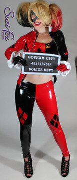 Harley Quinn Jacket in Black & Red Gloss Vinyl/PVC Spandex, custom made by Suzi Fox. Custom made to your measurements! • 4 Diamonds on the red side. • Shown with optional tank top, gloves, and leggings. • Available in black, white, red, navy blue, royal blue, turquoise, purple, fuchsia, neon pink, light pink, matte black (no shine), matte white (no shine) stretch vinyl/PVC coated nylon spandex, or any fabric on this site. • Your choice of zippers. • Optional wrist zippers. Made in the U.S.A.