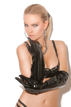 "Included Gloves are Elegant Moments brand, one size fits most, black PVC.  20"" long. If you want custom gloves, go to http://liquidvinylclothing.com/gl2-4005"