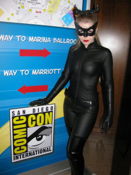 Customer photo: SO many thanks to Genevieve Nylen, who sent us pictures of her rendition of Catwoman from the Dark Knight Rises movie that she wore to San Diego ComicCon. She wore her Suzi Fox Matte (no shine) black vinyl catsuit, and really had everyone's attention!!!
