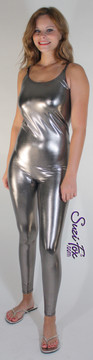 Womens Camisole Catsuit shown in Gun Metal Metallic Foil coated spandex, custom made by Suzi Fox. Custom made to your measurements! • Spaghetti straps. • Available in gold, silver, copper, gunmetal, turquoise, Royal blue, red, green, purple, fuchsia, black faux leather/rubber Metallic Foil, and any fabric on this site. • Optional ankle zippers. • Made in the U.S.A.