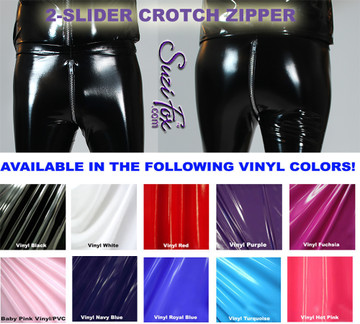Mens Hiphugger Leggings shown in Gloss Black Vinyl/PVC Spandex, with optional 2-slider crotch zipper, custom made by Suzi Fox. • Shown with optional 2-slider crotch zipper. Custom made to your measurements! • Available in black, white, red, navy blue, royal blue, turquoise, purple, Neon Pink, fuchsia, light pink, matte black (no shine), matte white (no shine), black 3D Prism, red 3D Prism, Turquoise 3D Prism, Baby Blue 3D Prism, Hot Pink 3D Prism Vinyl and any fabric on this site. • 1 inch no-roll elastic at the waist. • Optional 1 or 2-slider crotch zipper. • Choose your ankle size - tight ankles, jean cut, boot cut, or bellbottom. • Optional ankle zippers. • Optional belt loops. • Optional rear patch pockets. Made in the U.S.A.