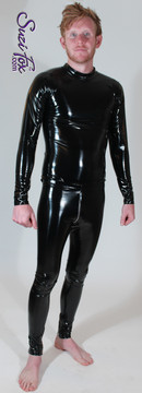 Mens Hiphugger Leggings shown in Gloss Black Vinyl/PVC Spandex, with optional 2-slider crotch zipper, custom made by Suzi Fox. Shown with Mens long sleeve t-shirt in gloss black vinyl/PVC.