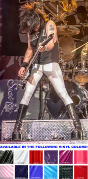 Customer photo! Thanks to Randy of the band HAIRBALL for this picture! Mens Hiphugger Leggings shown in Gloss White Vinyl/PVC Spandex, custom made by Suzi Fox. Custom made to your measurements! • Shown with optional front 1-slider zipper. • Available in black, white, red, navy blue, royal blue, turquoise, purple, Neon Pink, fuchsia, light pink, matte black (no shine), matte white (no shine), black 3D Prism, red 3D Prism, Turquoise 3D Prism, Baby Blue 3D Prism, Hot Pink 3D Prism Vinyl and any fabric on this site. • 1 inch no-roll elastic at the waist. • Optional 1 or 2-slider crotch zipper. • Choose your ankle size - tight ankles, jean cut, boot cut, or bellbottom. • Optional ankle zippers. • Optional belt loops. • Optional rear patch pockets. Made in the U.S.A.
