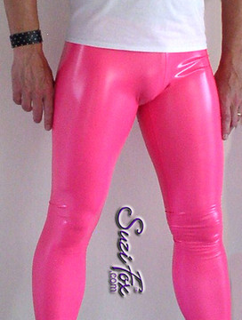 Mens Hiphugger Leggings shown in Gloss Neon Pink Vinyl/PVC Spandex, custom made by Suzi Fox. Custom made to your measurements! • Available in black, white, red, navy blue, royal blue, turquoise, purple, Neon Pink, fuchsia, light pink, matte black (no shine), matte white (no shine), black 3D Prism, red 3D Prism, Turquoise 3D Prism, Baby Blue 3D Prism, Hot Pink 3D Prism Vinyl and any fabric on this site. • 1 inch no-roll elastic at the waist. • Optional 1 or 2-slider crotch zipper. • Choose your ankle size - tight ankles, jean cut, boot cut, or bellbottom. • Optional ankle zippers. • Optional belt loops. • Optional rear patch pockets. Made in the U.S.A.
