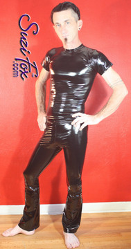 Mens Hiphugger Boot Cut Pants shown in Gloss Black Vinyl/PVC Spandex, custom made by Suzi Fox. Custom made to your measurements! • Available in black, white, red, navy blue, royal blue, turquoise, purple, Neon Pink, fuchsia, light pink, matte black (no shine), matte white (no shine), black 3D Prism, red 3D Prism, Turquoise 3D Prism, Baby Blue 3D Prism, Hot Pink 3D Prism Vinyl and any fabric on this site. • 1 inch no-roll elastic at the waist. • Optional 1 or 2-slider crotch zipper. • Choose your ankle size - tight ankles, jean cut, boot cut, or bellbottom. • Optional ankle zippers. • Optional belt loops. • Optional rear patch pockets. Made in the U.S.A.