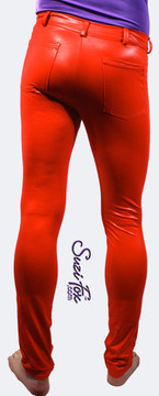 Mens Jean style Pants shown in Red Wetlook Lycra Spandex, custom made by Suzi Fox. Shown with optional pockets and belt loops. Custom made to your measurements! • Available in black, white, red, turquoise, navy blue, royal blue, hot pink, lime green, green, yellow, steel gray, neon orange Wet Look and any fabric on this site. • Fly front zipper and waistband. • Choose your ankle size - tight ankles, jean cut, boot cut, or bellbottom. • Optional ankle zippers. • Optional belt loops. • Optional rear patch pockets. Made in the U.S.A.