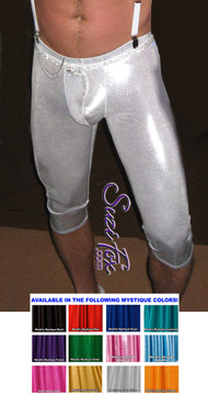 Pouch Front Clamdigger pants shown in Silver Metallic Mystique Spandex, custom made by Suzi Fox. Custom made to your measurements! Choose your pouch size. Capri length shown, but choose your inseam. • Available in black, red, turquoise, green, purple, royal blue, hot pink/fuchsia, silver, copper, gold Metallic Mystique spandex and any fabric on this site. • 1 inch no-roll elastic at the waist. • Optional belt loops. • Optional rear patch pockets. • Your choice of ankle style - tight ankles, jean cut, boot cut, or bellbottom. Made in the U.S.A.