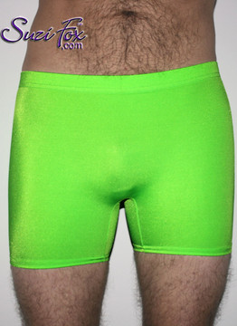 Mens Smooth Front shorts shown in Neon Green Milliskin Tricot Spandex, custom made by Suzi Fox. Neon Milliskin glows under blacklight! Custom made to your measurements! • Available in black, white, red, royal blue, sky blue, turquoise, purple, green, neon green, hunter green, neon pink, neon orange, athletic gold, lemon yellow, steel gray Miilliskin Tricot spandex and any fabric on this site. • 1 inch no-roll elastic at the waist. • Optional belt loops. • Optional rear patch pockets. • Your choice of inseam and rise. 4 inch inseam is standard. • Made in the U.S.A.