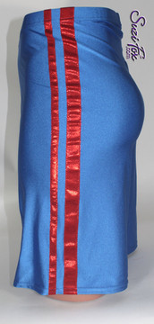 Mens Basketball or Board shorts shown in Royal Blue Milliskin Tricot Spandex and Red Metallic Stripe, custom made by Suzi Fox. • Available in black, white, red, royal blue, sky blue, turquoise, purple, green, neon green, hunter green, neon pink, neon orange, athletic gold, lemon yellow, steel gray Miilliskin Tricot spandex and any fabric on this site. • 1 inch no-roll elastic at the waist. • Optional belt loops. • Optional rear patch pockets. • Optional drawstring. • Made in the U.S.A.