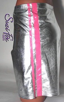 Mens Basketball or Board shorts shown in Silver Metallic Foil with Neon Pink Vinyl stripes, custom made by Suzi Fox. • Available in gold, silver, copper, gunmetal, turquoise, Royal blue, red, green, purple, fuchsia, black faux leather/rubber Metallic Foil, and any fabric on this site. • 1 inch no-roll elastic at the waist. • Optional belt loops. • Optional rear patch pockets. • Optional drawstring. • Made in the U.S.A.