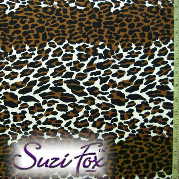 Fabric AP-9103. Leopard Print. Four Way Stretch Nylon Spandex 80% Nylon,  20% Spandex, Fabric has a Wet Look type feel, glisten and shine.  The darker browns are copper color. Hand wash inside out in cold water, line dry. Iron inside out on low heat. Do not bleach.