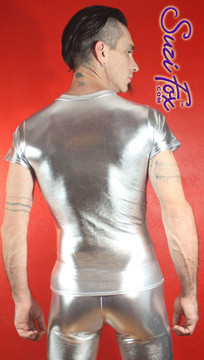 Mens Tee Shirt shown in Silver Metallic Foil Spandex, custom made by Suzi Fox. • Available in gold, silver, copper, gunmetal, turquoise, Royal blue, red, green, purple, fuchsia, black faux leather/rubber Metallic Foil, and any fabric on this site. • Choose your sleeve length. • Give us your measurements for a custom fit! • Standard length is 24 inches (61 cm) for sizes XXXS-Medium; 27 inches (68.6 cm) for sizes Large and up. • Optional add extra length to the shirt. • Made in the U.S.A.