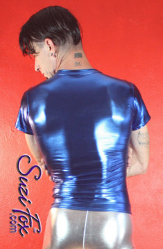 Mens Tee Shirt shown in Royal Blue Metallic Foil Spandex, custom made by Suzi Fox. • Available in gold, silver, copper, gunmetal, turquoise, Royal blue, red, green, purple, fuchsia, black faux leather/rubber Metallic Foil, and any fabric on this site. • Choose your sleeve length. • Give us your measurements for a custom fit! • Standard length is 24 inches (61 cm) for sizes XXXS-Medium; 27 inches (68.6 cm) for sizes Large and up. • Optional add extra length to the shirt. • Made in the U.S.A.