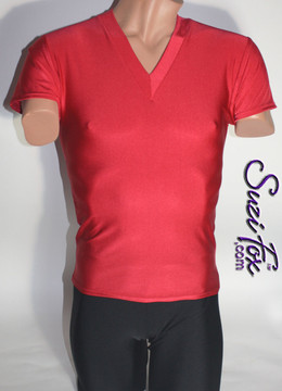 Mens V Neck Tee Shirt shown in Red Milliskin Tricot Spandex, custom made by Suzi Fox. • Available in black, white, red, royal blue, sky blue, turquoise, purple, green, neon green, hunter green, neon pink, neon orange, athletic gold, lemon yellow, steel gray Miilliskin Tricot spandex, and any fabric on this site. • Choose your sleeve length. • Give us your measurements for a custom fit! • Standard length is 24 inches (61 cm) for sizes XXXS-Medium; 27 inches (68.6 cm) for sizes Large and up. • Optional add extra length to the shirt. • Made in the U.S.A.