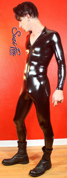 Mens Custom Catsuit by Suzi Fox shown in Black Gloss Vinyl/PVC coated Nylon Spandex, by Suzi Fox. • Choose any fabric on this site, including vinyl/PVC, metallic foil, metallic mystique, wetlook lycra Spandex, Milliskin Tricot Spandex. • Optional Custom Sizing. • Plus size available. • Optional 1 or 2-slider crotch zipper. • Optional wrist zippers. • Optional ankle zippers. • Worldwide shipping. • Made in the U.S.A.
