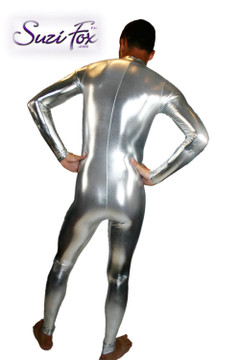 Mens Custom Catsuit shown in Silver Metallic Foil Spandex, custom made by Suzi Fox. • Available in gold, silver, copper, gunmetal, turquoise, Royal blue, red, green, purple, fuchsia, black faux leather/rubber Metallic Foil, and any fabric on this site. • Your choice of front or back zipper (front zipper shown). • Optional 1 or 2-slider crotch zipper. • Optional wrist zippers • Optional ankle zippers • Optional finger loops • Made in the U.S.A.