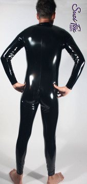 Mens Custom Catsuit shown in Gloss Black vinyl/PVC, with optional 2-slider crotch zipper, by Suzi Fox.  • Choose any fabric on this site, including vinyl/PVC, metallic foil, metallic mystique, wetlook lycra Spandex, Milliskin Tricot Spandex. • Optional Custom Sizing. • Plus size available. • Optional 1 or 2-slider crotch zipper. • Optional wrist zippers. • Optional ankle zippers. • Worldwide shipping. • Made in the U.S.A.