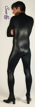 Mens Catsuit shown in Black Wetlook Lycra Spandex, custom made by Suzi Fox. • Your choice of front or back zipper (front zipper shown). • Optional 1 or 2-slider crotch zipper. • Optional wrist zippers • Optional ankle zippers • Optional finger loops • Made in the U.S.A.