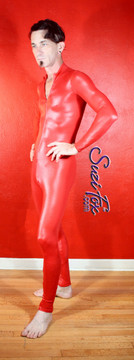Mens Custom Catsuit shown in Red Wetlook Lycra Spandex, custom made by Suzi Fox. • Available in black, white, red, turquoise, navy blue, royal blue, hot pink, lime green, green, yellow, steel gray, neon orange Wet Look, and any fabric on this site. • Your choice of front or back zipper (front zipper shown). • Optional 1 or 2-slider crotch zipper. • Optional wrist zippers • Optional ankle zippers • Optional finger loops • Made in the U.S.A.
