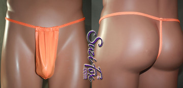 Men's Adjustable Pouch, G-String thong, shown in Neon Orange Milliskin Tricot Spandex, custom made by Suzi Fox. • Adjustable! Make it thinner or wider! • Standard front height is 8 inches (20.3 cm) tall. • Available in 3, 4, 5, 6, 7, 8, 9, and 10 inch front heights. • Wear it as swimwear OR underwear! • You can choose any fabric on this site, including vinyl/PVC, Metallic Foil, Metallic Mystique, Wetlook Lycra Spandex, Milliskin Tricot Spandex. The vinyl/PVC is a latex alternative, great for people allergic to latex! • Worldwide shipping. • Made in the U.S.A. We custom make every garment when you order it (including standard sizes).