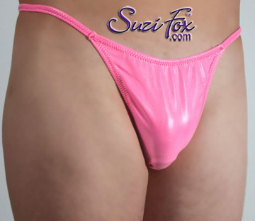 Mens Smooth Front, G-String thong - shown in Neon Pink Vinyl/PVC Spandex, custom made by Suzi Fox. • Standard front height is 7 inches (17.8 cm) tall. • Available in 3, 4, 5, 6, 7, 8, 9, and 10 inch front heights. • Wear it as swimwear OR underwear! • You can choose any fabric on this site, including vinyl/PVC, Metallic Foil, Metallic Mystique, Wetlook Lycra Spandex, Milliskin Tricot Spandex. The vinyl/PVC is a latex alternative, great for people allergic to latex! • Worldwide shipping. • Made in the U.S.A. We custom make every garment when you order it (including standard sizes).
