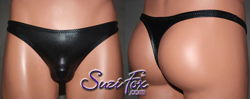 Men's Smooth Front, Wide Strap, T-Back thong - shown in Black Faux Leather Metallic Foil Spandex, custom made by Suzi Fox. • Available in gold, silver, copper, gunmetal, turquoise, Royal blue, red, green, purple, fuchsia, black faux leather/rubber Metallic Foil or any fabric on this site. • Standard front height is 7 inches (17.8 cm). • Available in 3, 4, 5, 6, 7, 8, 9, and 10 inch front heights. • Wear it as swimwear OR underwear! • Made in the U.S.A.