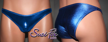 Mens Smooth Front, Wide Strap, Brazilian Bikini - shown in Royal Blue Metallic Foil Spandex, custom made by Suzi Fox. • Available in gold, silver, copper, gunmetal, turquoise, Royal blue, red, green, purple, fuchsia, black faux leather/rubber Metallic Foil or any fabric on this site. • Standard front height is 6 inches (15.24 cm) tall. • Available in 4, 5, 6, 7, 8, 9, and 10 inch front heights. • Wear it as swimwear OR underwear! • Made in the U.S.A.