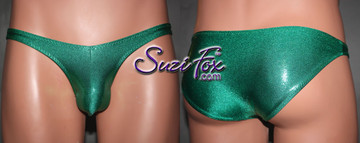 Mens Pouch Front, Wide Strap, Brazilian Bikini - shown in Green Metallic Mystique Spandex, custom made by Suzi Fox. • Available in black, red, turquoise, green, purple, royal blue, hot pink/fuchsia, baby pink, baby blue, silver, copper, gold Metallic Mystique spandex or any fabric on this site. • Standard front height is 6 inches (15.24 cm). • Available in 4, 5, 6, 7, 8, 9, and 10 inch front heights. • Wear it as swimwear OR underwear! • Made in the U.S.A.