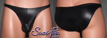 Mens Pouch Front, Wide Strap, Brazilian Bikini - shown in Black Wetlook Lycra Spandex, custom made by Suzi Fox. • Available in black, white, red, turquoise, navy blue, royal blue, hot pink, lime green, green, yellow, steel gray, neon orange Wet Look or any fabric on this site. • Standard front height is 7 inches (17.8 cm). • Available in 4, 5, 6, 7, 8, 9, and 10 inch front heights. • Wear it as swimwear OR underwear! • Made in the U.S.A.