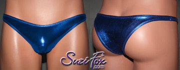 Men's Smooth Front, Wide Strap, Tanga Bikini - shown in Royal Blue Metallic Foil Spandex, custom made by Suzi Fox. • Available in gold, silver, copper, gunmetal, turquoise, Royal blue, red, green, purple, fuchsia, black faux leather/rubber Metallic Foil or any fabric on this site. • Standard front height is 6 inches (15.2 cm). • Available in 3, 4, 5, 6, 7, 8, 9, and 10 inch front heights. • Wear it as swimwear or underwear! Made in the U.S.A.
