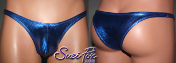 Men's Pouch Front, Wide Strap, Tanga Bikini - shown in Royal Blue Metallic Foil Spandex, custom made by Suzi Fox. • Available in gold, silver, copper, gunmetal, turquoise, Royal blue, red, green, purple, fuchsia, black faux leather/rubber Metallic Foil or any fabric on this site. • Standard front height is (7 inches (17.8 cm). • Available in 3, 4, 5, 6, 7, 8, 9, and 10 inch front heights. • Choose your pouch size! • Wear it as swimwear or underwear! Made in the U.S.A.