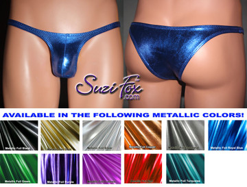 Men's Contoured Pouch Front, Wide Strap, Tanga Bikini - shown in Royal Blue Metallic Foil Spandex, custom made by Suzi Fox. • Available in gold, silver, copper, gunmetal, turquoise, Royal blue, red, green, purple, fuchsia, black faux leather/rubber Metallic Foil or any fabric on this site. • Standard front height is (6 inches (15.2 cm). • Available in 3. 4, 5, 6, 7, 8, 9, and 10 inch front heights. • Choose your pouch size! • Wear it as swimwear or underwear! Made in the U.S.A.