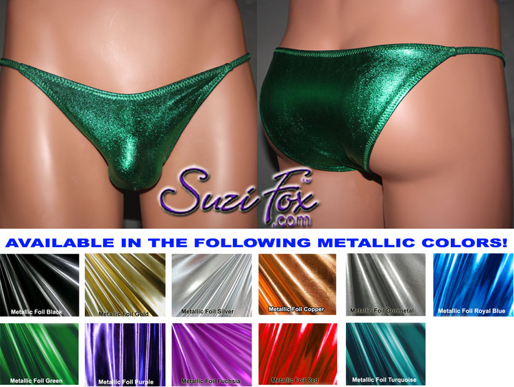 Mens Smooth Front, Skinny Strap, Rio Bikini - shown in Green Metallic Foil Spandex, custom made by Suzi Fox. • Available in gold, silver, copper, gunmetal, turquoise, Royal blue, red, green, purple, fuchsia, black faux leather/rubber Metallic Foil or any fabric on this site. • Standard front height is 6 inches (15.24 cm). • Available in 4, 5, 6, 7, 8, 9, and 10 inch front heights. • Wear it as swimwear OR underwear! • Made in the U.S.A.
