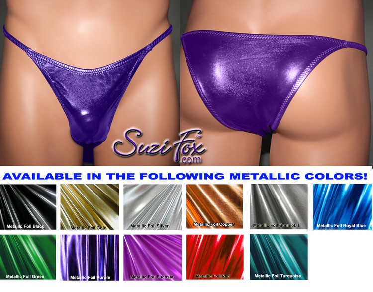 Mens Smooth Front, Skinny Strap, Rio Bikini - shown in Purple Metallic Foil Spandex, custom made by Suzi Fox. • Available in gold, silver, copper, gunmetal, turquoise, Royal blue, red, green, purple, fuchsia, black faux leather/rubber Metallic Foil or any fabric on this site. • Standard front height is 6 inches (15.24 cm). • Available in 4, 5, 6, 7, 8, 9, and 10 inch front heights. • Wear it as swimwear OR underwear! • Made in the U.S.A.