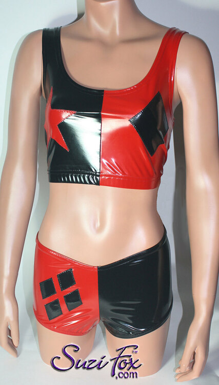 Harley Quinn Roller Derby style Tank Top shown in Black & Red Vinyl/PVC Spandex, custom made by Suzi Fox. • Custom made to your measurements! • choose your star and diamond placement. • Optional front zipper. Available in black, white, red, navy blue, royal blue, turquoise, purple, Neon Pink, fuchsia, light pink, matte black (no shine), matte white (no shine), black 3D Prism, red 3D Prism, Turquoise 3D Prism, Baby Blue 3D Prism, Hot Pink 3D Prism Vinyl/PVC, and any other fabric on this site. Made in the U.S.A.
