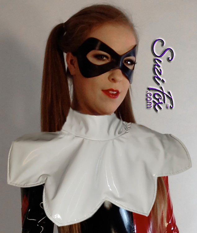 White cowl collar for Harley Quinn costume by Suzi Fox. Elastic with hook in back for easy on-off and fit. We recommend white gloss vinyl, or white matte (no shine) vinyl. These fabrics are sturdy and can keep their shape. Custom Made in the U.S.A.