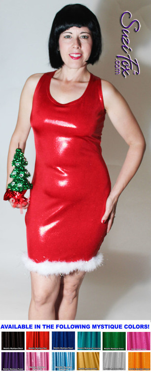 Custom Christmas Dress shown in red metallic mystique with white boa feathers with silver tinsel by Suzi Fox. Also available in metallic foil red, or any fabric on this site! Metallic Mystique is a 4-way stretch fabric with tiny small glittering metallic foil dots embedded in the fabric. • Custom sizing available. • Plus size available. • Worldwide shipping. • Made in the U.S.A.
