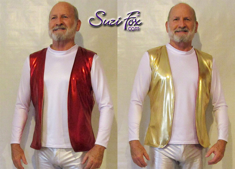 Mens Reversible Vest shown in Red and Gold Metallic Foil coated Spandex, custom made by Suzi Fox. Shown with white wetlook mens long sleeve t-shirt. • Choose any fabric on this site, including vinyl/PVC, metallic foil, metallic mystique, wetlook lycra Spandex, Milliskin Tricot Spandex. The vinyl/PVC is a latex alternative, great for people allergic to latex! • Custom sizing available. • Plus size available. • Worldwide shipping. • Made in the U.S.A. Our thanks to Robert Strong, professional piano player, for these awesome pictures!