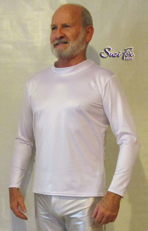 Mens Long Sleeve Shirt shown in White Wetlook Lycra Spandex, custom made by Suzi Fox • Optional wrist zippers if you choose long sleeves. • Choose any fabric on this site, including vinyl/PVC, metallic foil, metallic mystique, wetlook lycra Spandex, Milliskin Tricot Spandex. The vinyl/PVC is a latex alternative, great for people allergic to latex! • Optional custom sizing. • Plus size available. • Worldwide shipping. • Made in the U.S.A. Thanks to Robert Strong, professional piano player, for the awesome picture!
