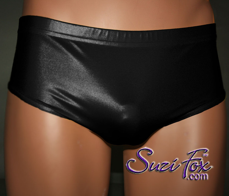 Mens Smooth Front, Brief Bikini , custom made by Suzi Fox - shown in Black Wet Look Lycra Spandex. Made in the U.S.A.