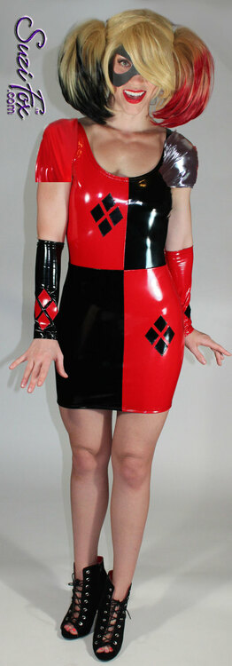 Harley Quinn Scoop Neck Mini Dress in Shiny Gloss Black & Red Vinyl/PVC Spandex by Suzi Fox. Diamonds on the red sides in the front. Popular fabrics are: red & black vinyl/PVC, red & black metallic foil, red & black wet look lycra Spandex.  • You can choose any fabric on this site, including vinyl/PVC, Metallic Foil, Metallic Mystique, Wetlook Lycra Spandex, Milliskin Tricot Spandex. The vinyl/PVC is a latex alternative, great for people allergic to latex! • Optional Custom Sizing. • Plus size available. • Worldwide shipping. • Made in the U.S.A.