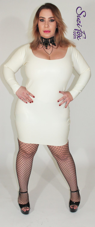 """Scoop Neck, Long Sleeved Mini Dress shown in off white unshined Latex Rubber, custom made by Suzi Fox. • Zipper in the back with zipper choices. • Optional wrist zippers. • Custom sizing • Plus size available   *Note: click """"VIDEO"""" link at the bottom of this page to hear the **butt slap** sound Latex makes.  Sizing may vary slightly. • Worldwide shipping. • Made in the U.S.A."""