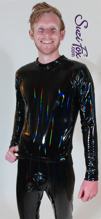 Mens long sleeve Tee Shirt shown in Holographic Gloss Black Vinyl/PVC Spandex, custom made by Suzi Fox. • Holographic colors are like a laser light show! They change with the light. • Optional wrist zippers if you choose long sleeves. • Choose any fabric on this site, including vinyl/PVC, metallic foil, metallic mystique, wetlook lycra Spandex, Milliskin Tricot Spandex. The vinyl/PVC is a latex alternative, great for people allergic to latex! • Optional custom sizing. • Plus size available. • Worldwide shipping. • Made in the U.S.A.