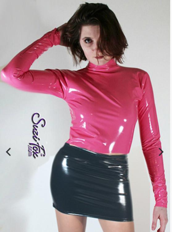 XXS Turtleneck shirt in gloss vinyl/pvc neon pink CLEARANCE