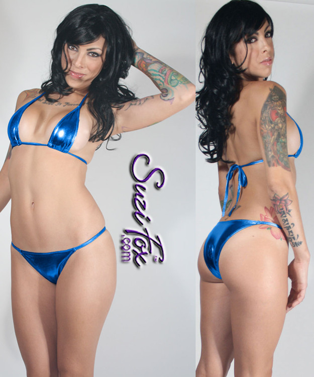 Womens skinny side Brazilian (3/4 rear coverage) Swim Suit bottom shown in Royal Blue Metallic Foil Spandex, custom made by Suzi Fox. • Custom made to your measurements. • Available in gold, silver, copper, gunmetal, turquoise, Royal blue, red, green, purple, fuchsia, black faux leather/rubber Metallic Foil, and any fabric on this site. • Top sold separately. (T36 Teardrop top shown) • Made in the U.S.A.