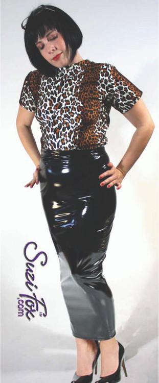 Hobble Skirt shown in gloss black vinyl, custom made by Suzi Fox.