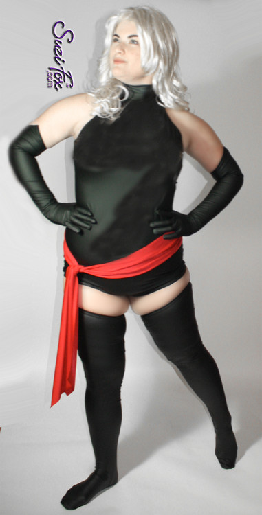 Open shoulder (Raglan sleeveless)  Leotard  shown in Matte (no shine) Black Vinyl/PVC, custom made by Suzi Fox