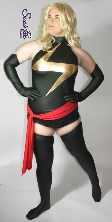 Ms Marvel Leotard with gold lightning bolt applique shown in Matte (no shine) Black Vinyl/PVC, custom made by Suzi Fox