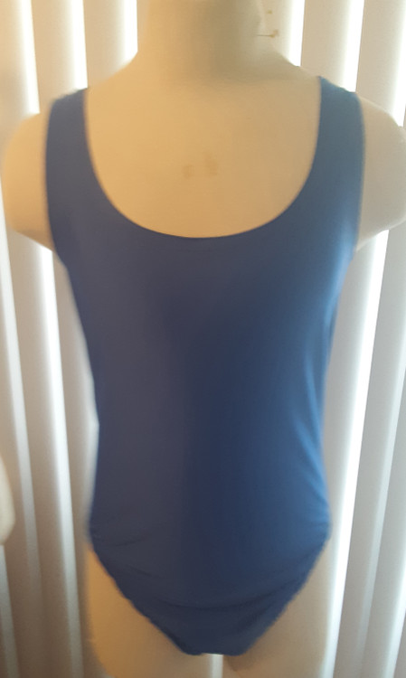 One Piece Tank Style Leotard shown in Royal Blue Milliskin Tricot Spandex, custom made by Suzi Fox. Low Leg T-back shown. • Custom made to your measurements. • Rear choices include: High Leg T-back, Low Leg T-back, Cheeky rear, full rear, French cut (Rio) leg, scrunch butt. • Available in any fabric on this site. • Made in the U.S.A.