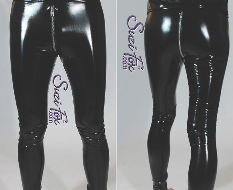 Leggings with optional 2-slider crotch zipper shown in black gloss vinyl/pvc by Suzi Fox.